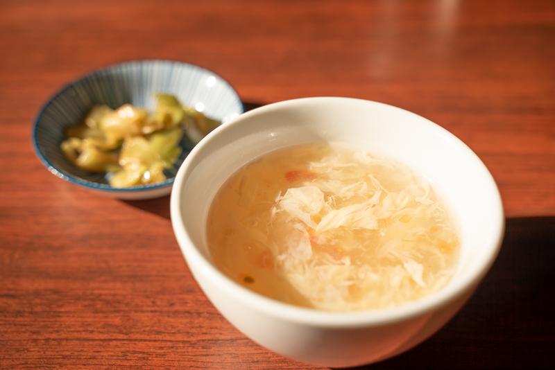 中華飯店 百嘉園 ランチ定食メニュー スープ ザーサイ