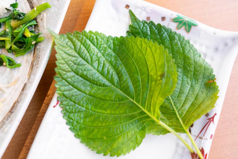 韓国家庭料理 我家 ウリチベ ポリッパ定食 ゴマの葉